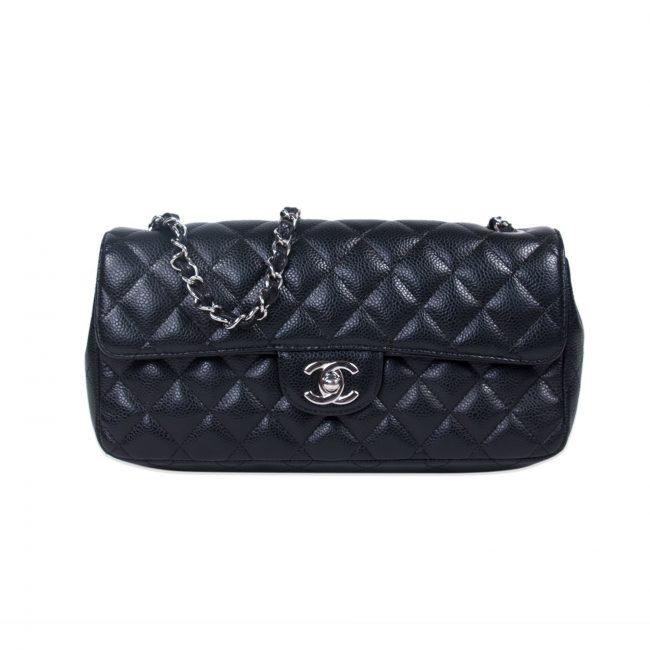 Chanel Black Caviar Leather Classic Flap Bag