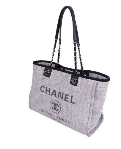 Chanel Light Grey Canvas Small Deauville Tote
