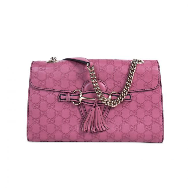 Gucci Pink Leather Medium Emily Shoulder Handbag