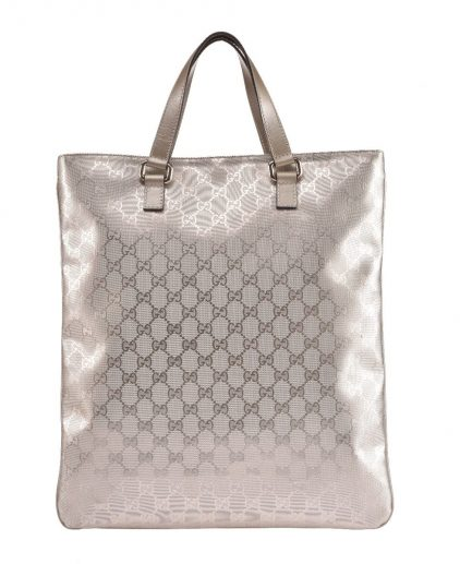 Gucci Silver GG Canvas Vertical Tote Handbag