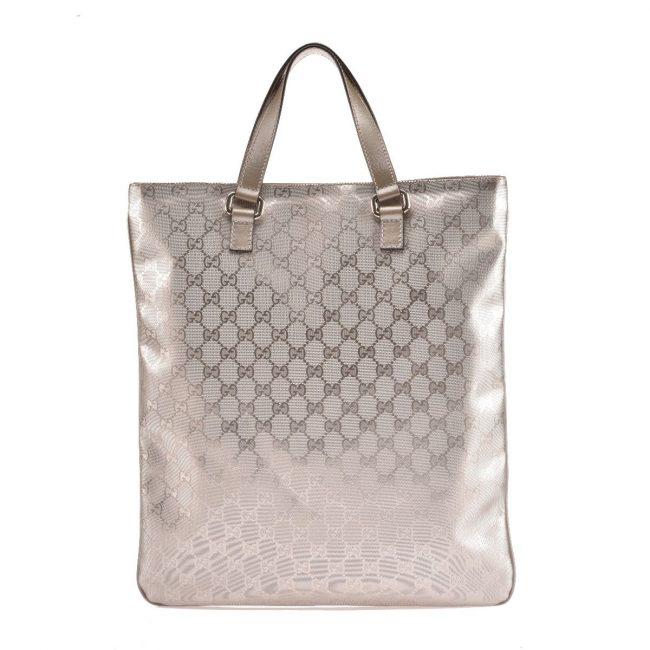 Gucci Silver GG Canvas Vertical Tote Handbag