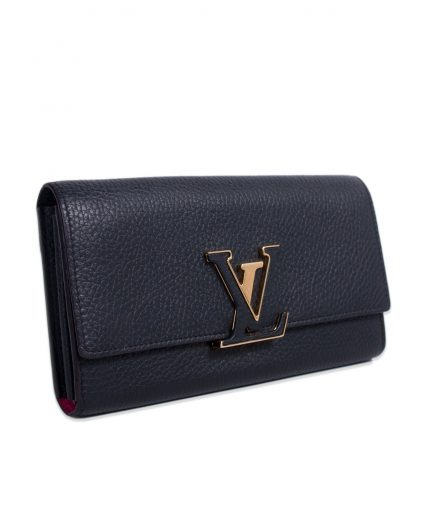 Louis Vuitton Black Leather Capucines Wallet