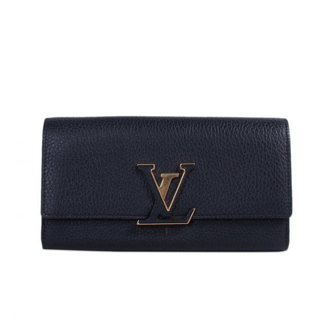 Louis Vuitton Black Leather Capucines Wallet
