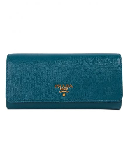 Prada Teal Saffiano Leather Continental Flap Wallet