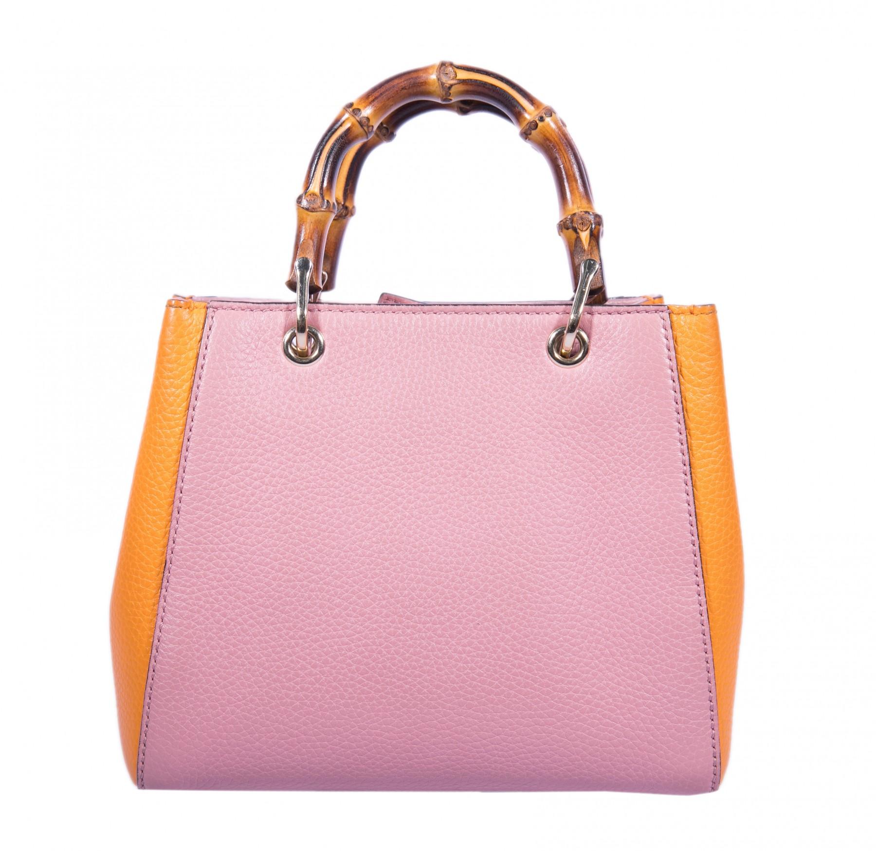 a3a67c2325c9 Gucci Pink Orange Mini Bamboo Shopper Tote