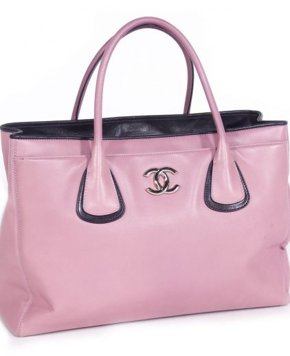 Chanel Pink Leather Large Cerf Executive Tote Bag