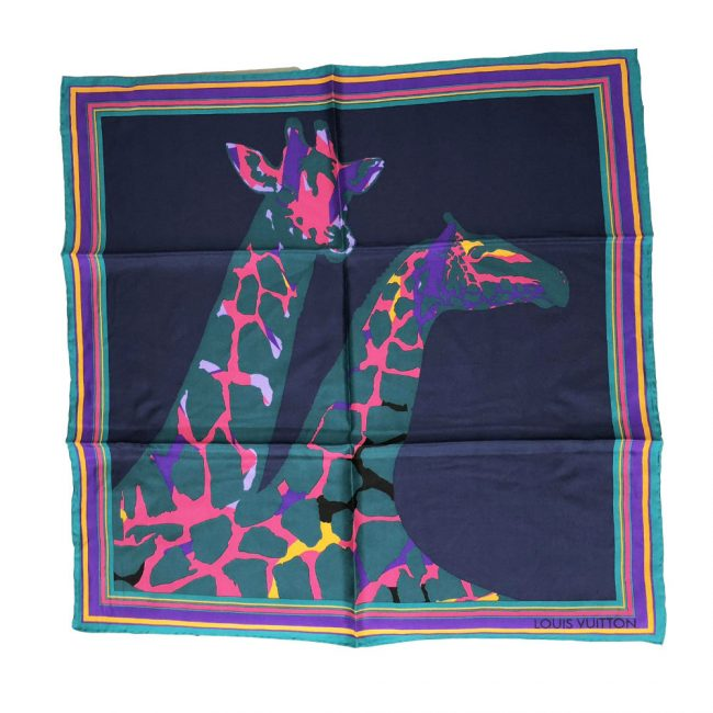Louis Vuitton Giraffe Printed Silk Square Scarf