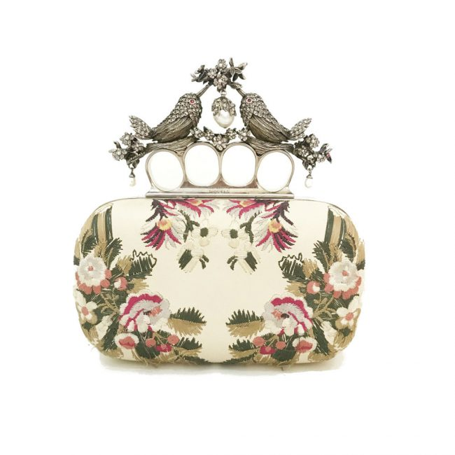 Alexander McQueen Floral Embroidery Bird Knuckle Clutch