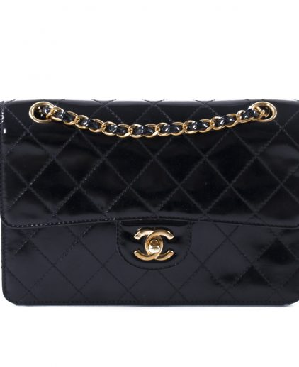 Chanel Vintage Black Patent Leather Classic Single Flap Handbag