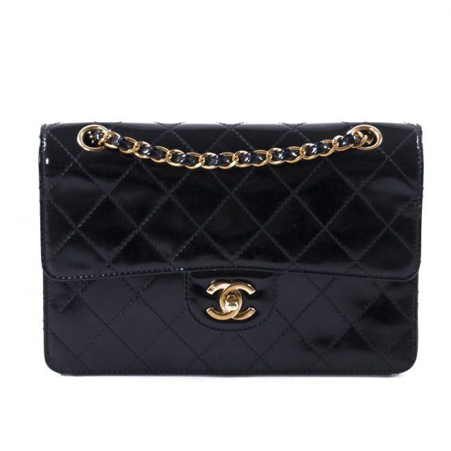 Chanel Vintage Black Patent Leather Classic Single Flap Handbag