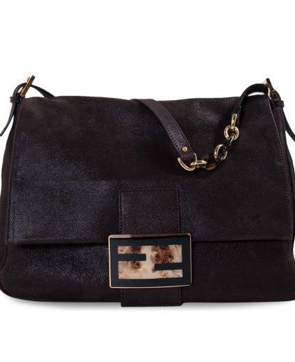 Fendi Chocolate Sequin Leather Large Forever Mama Bag