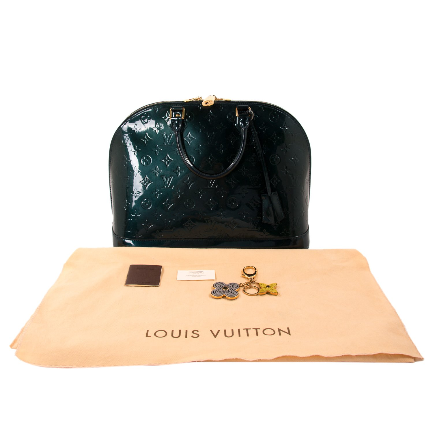 4acc4e211095 Louis Vuitton Green Monogram Vernis Leather Alma GM