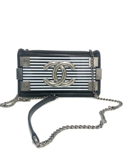 Chanel Black White Stripped Brick Flap Handbag