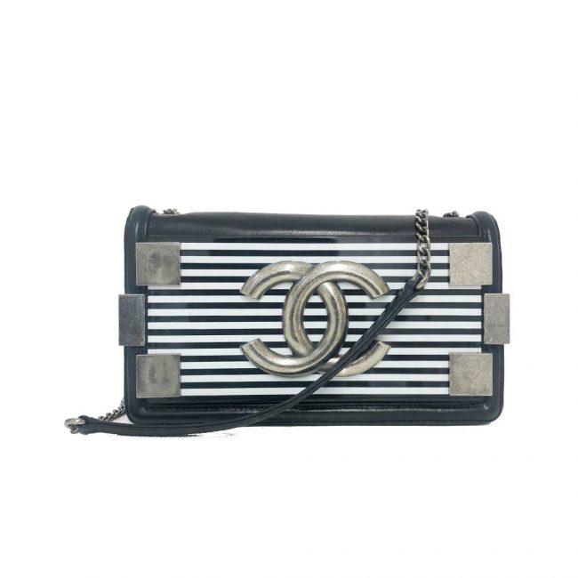 Chanel Black White Stripped Brick Flap Handbag