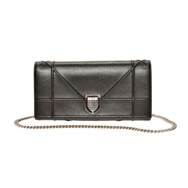 Dior Black Lambskin Leather Diorama Wallet On Chain