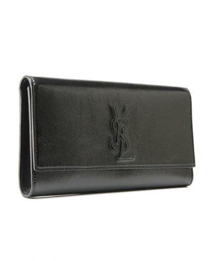 Saint Laurent Black Patent Leather Belle De Jour Flap Clutch