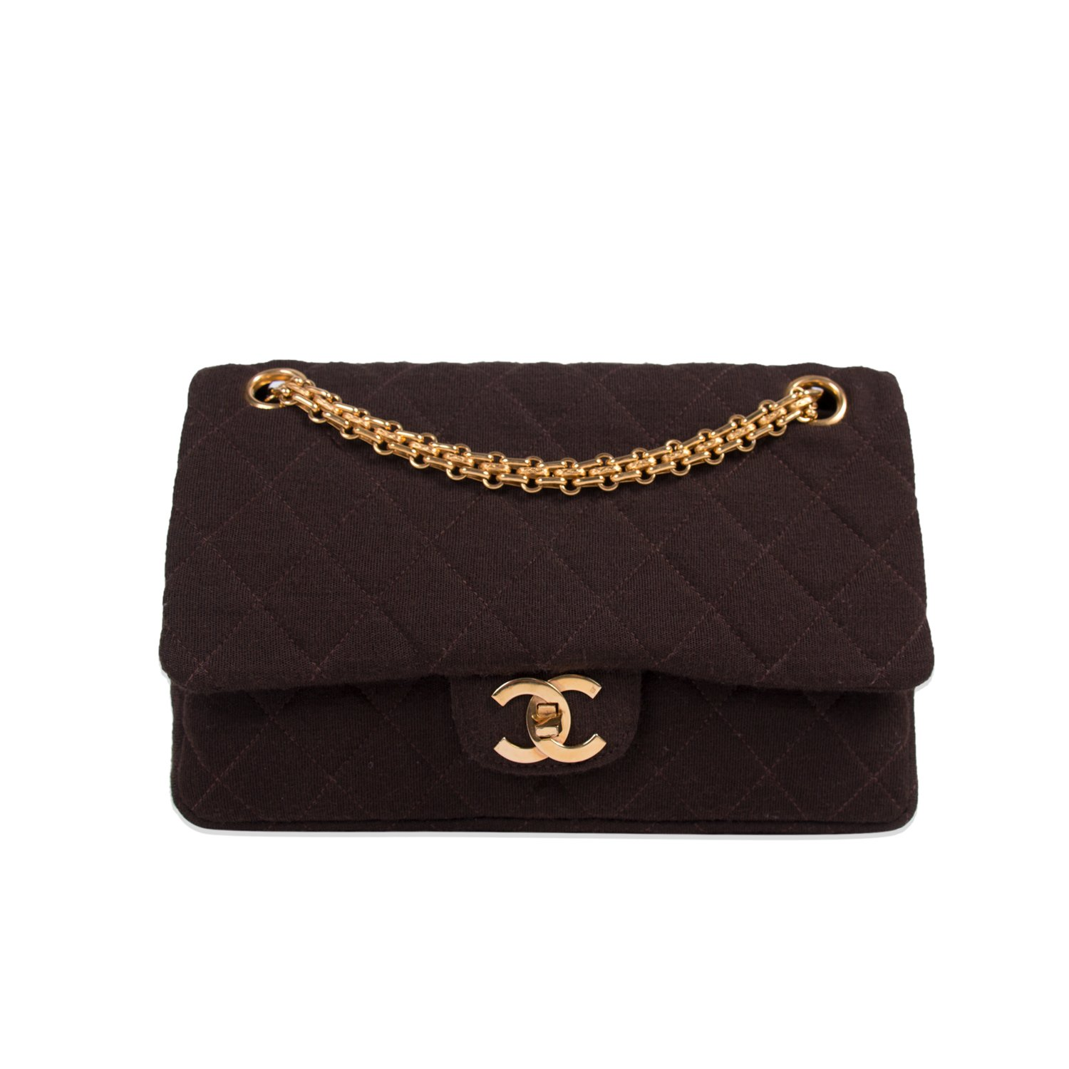 693925d35088a CHANEL VINTAGE BROWN JERSEY FABRIC SMALL FLAP HANDBAG - My Luxury Bargain