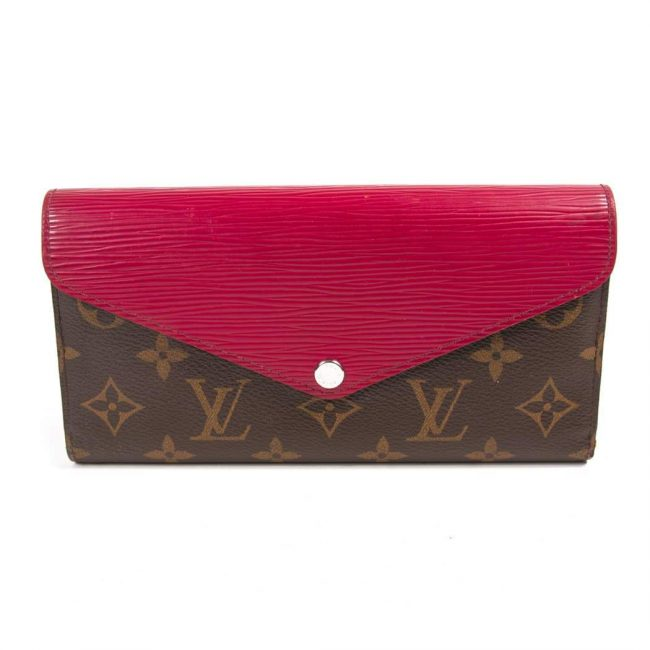Louis Vuitton Red Epi Leather Monogram Canvas Marie Lou Long Wallet