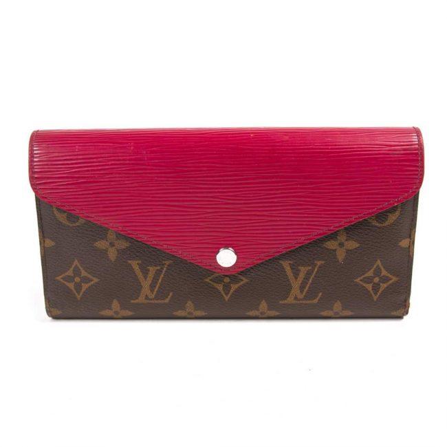 Louis Vuitton Red Epi Leather Monogram Canvas Marie Lou Long Wallet