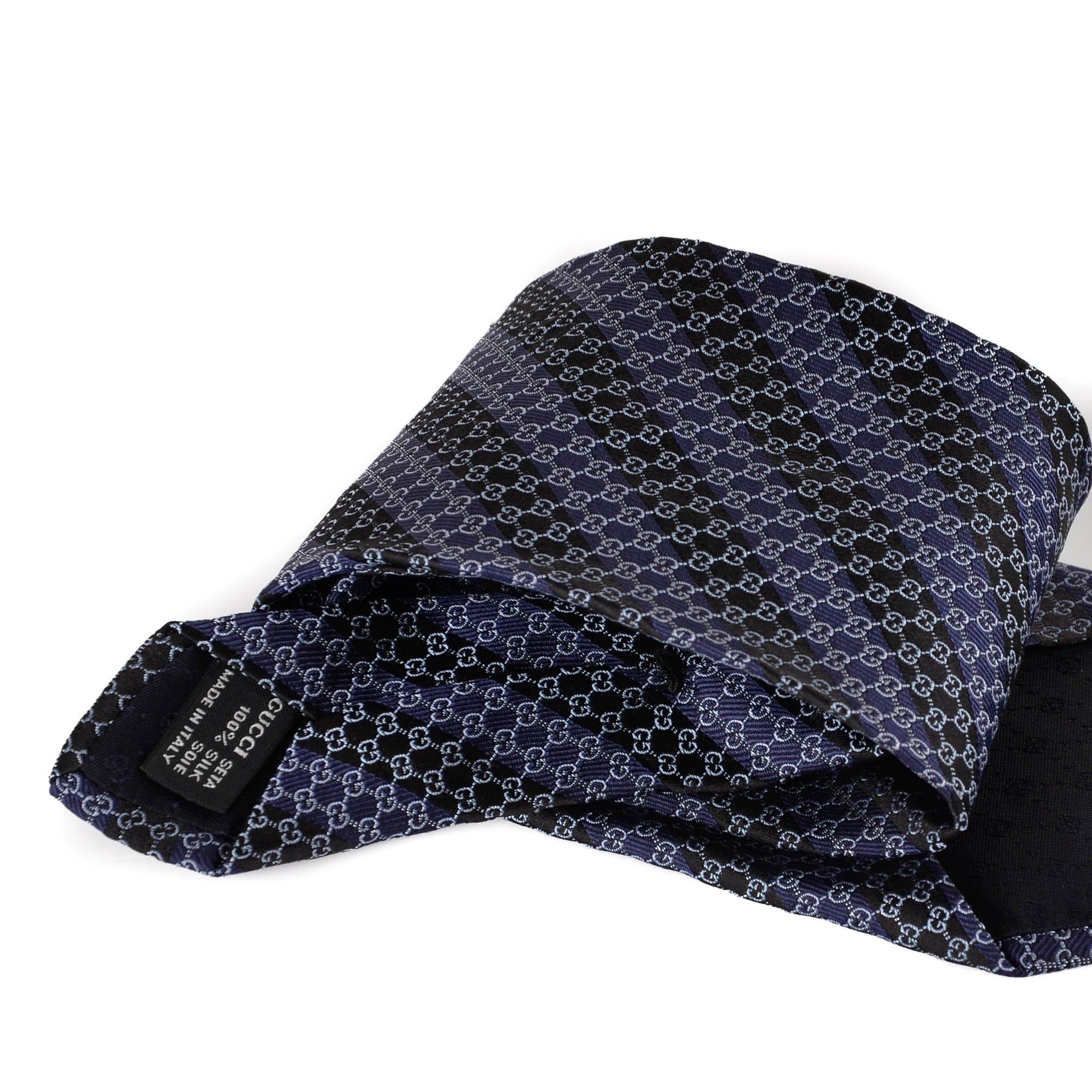 c0225e3dbd79b Striped Dark Blue GG Silk Tie - My Luxury Bargain