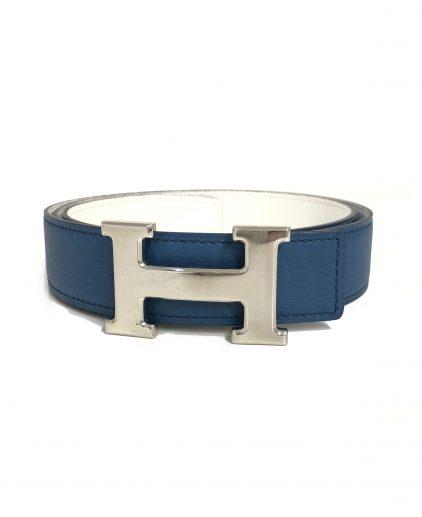 4c22b8d52f05 Hermes Blue White Reversible H Palladium Buckle Reversible Belt