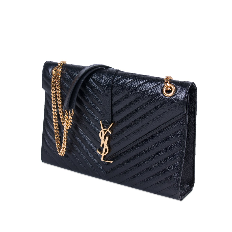 035fecb919 Saint Laurent Black Leather Monogram Envelope Shoulder Bag