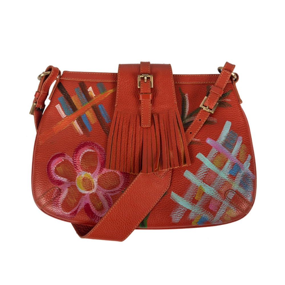 072ba25ce29 Customised Burberry Orange Leather Shoulder Bag - My Luxury Bargain