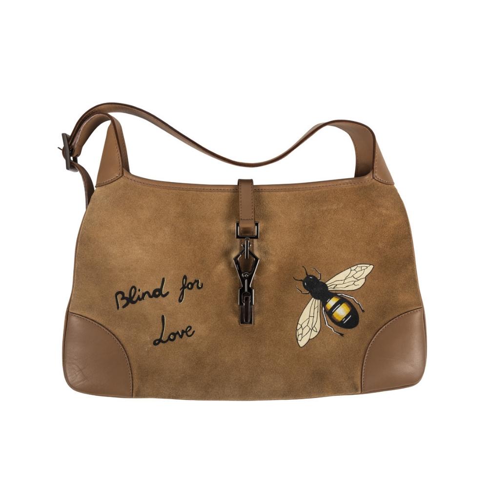 e9ac4002b Customised Gucci Beige Suede Large Jackie O Shoulder Bag - My Luxury Bargain
