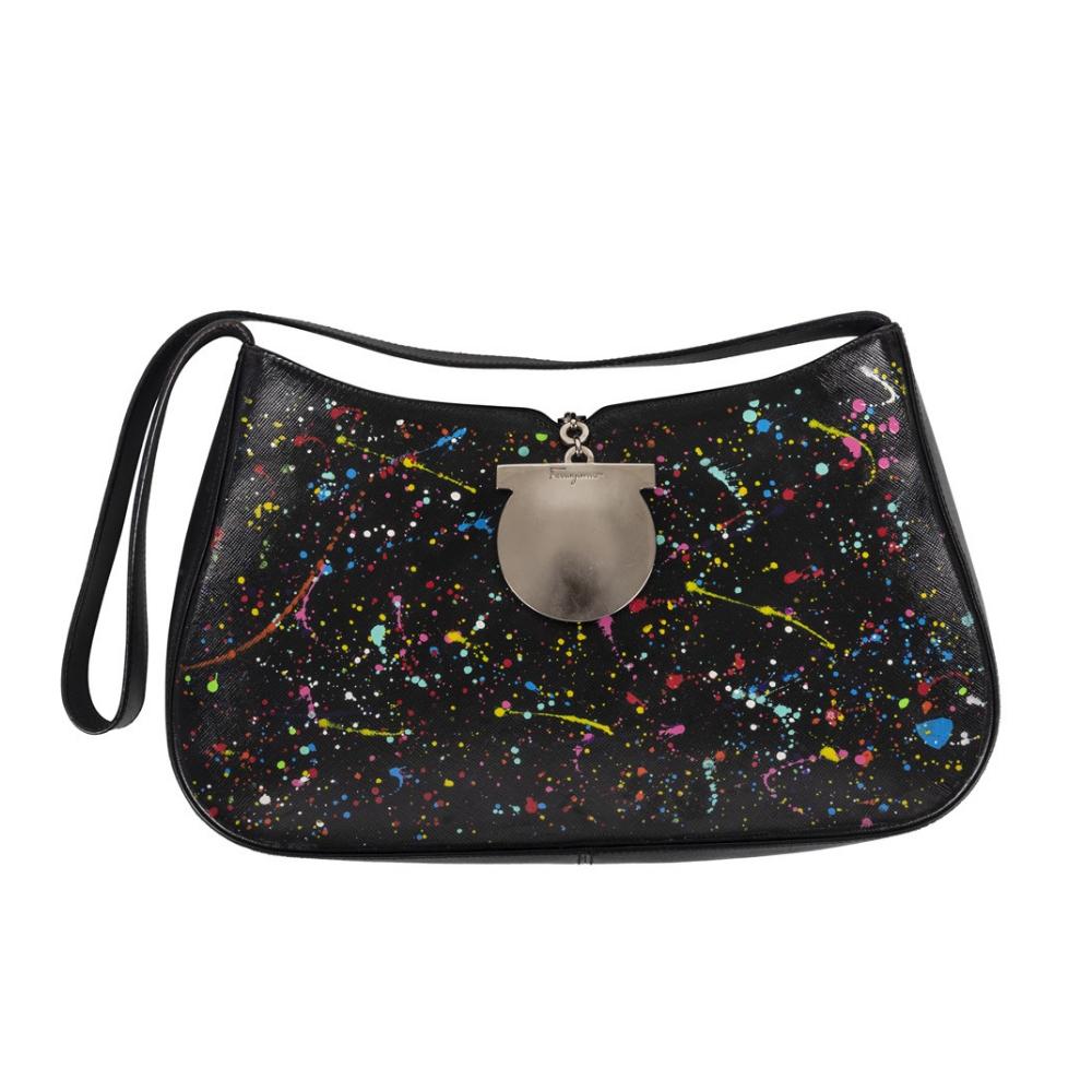 3fa199a25aeb Customised Salvatore Ferragamo Black Leather Shoulder Bag - My Luxury  Bargain