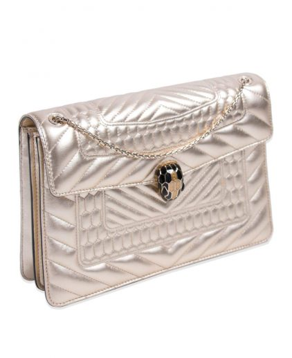 Bvlgari Gold Quilted Leather Forever Flap Shoulder Bag