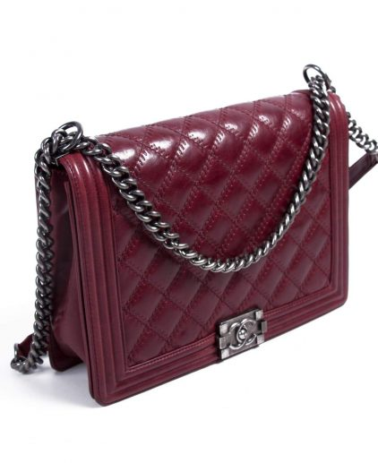 Chanel Large Burgundy Quilted Leather Large Boy Bag