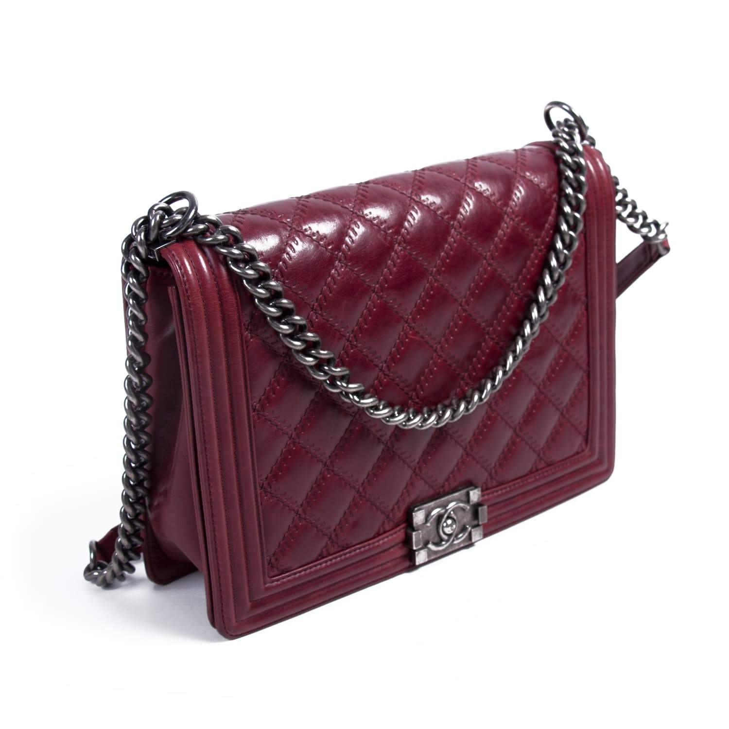70d34d407147 Chanel Large Burgundy Quilted Leather Large Boy Bag