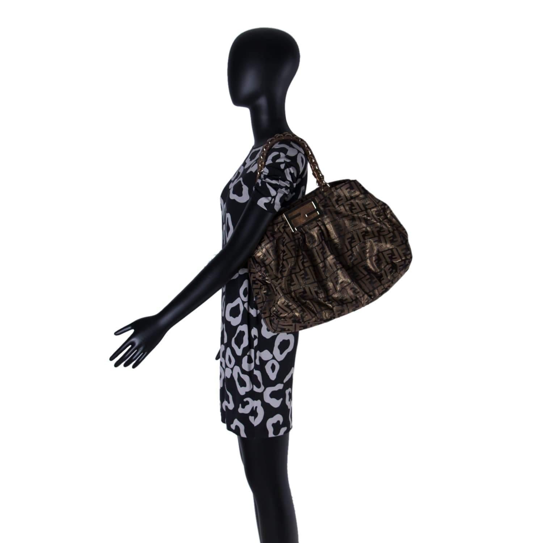b2735ef61a6d Fendi Metallic Gold Black Fabric Canvas Mia Tote - My Luxury Bargain