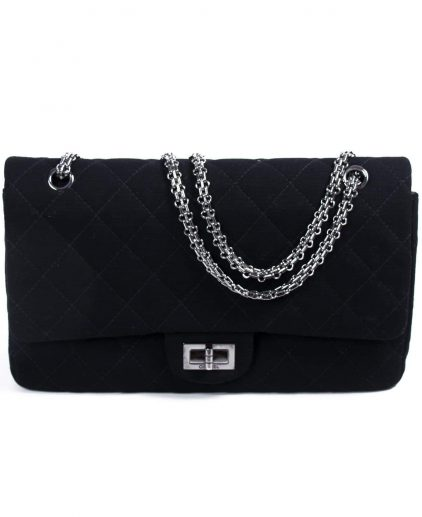 da8402d16d2e Chanel Black Quilted Jersey Reissue 227 Double Flap Bag ...