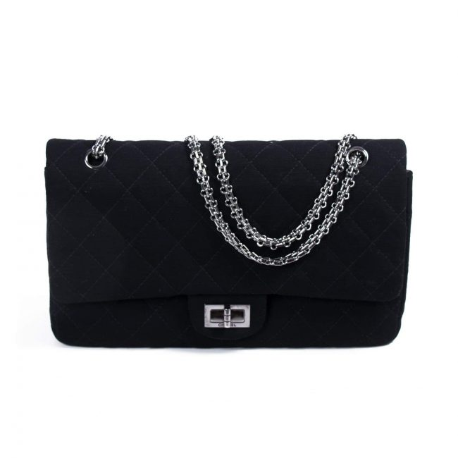 Chanel Black Quilted Jersey Reissue 227 Double Flap Bag
