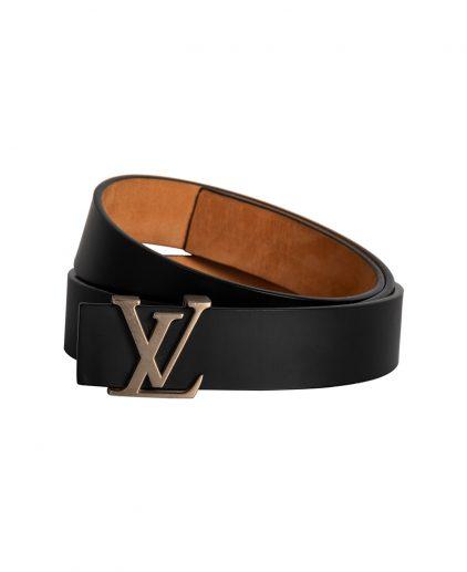 Louis Vuitton Black Leather Initials Belt Size 90CM