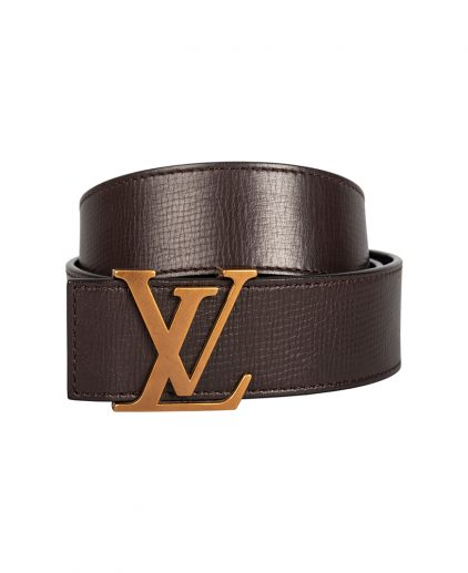 Louis Vuitton Brown Leather Initials Belt Size 95CM