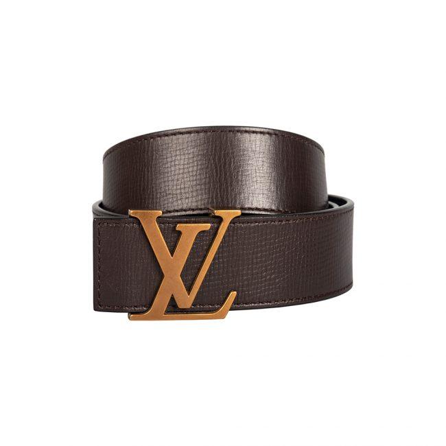 Louis Vuitton Brown Leather Initials Belt Size 95CM