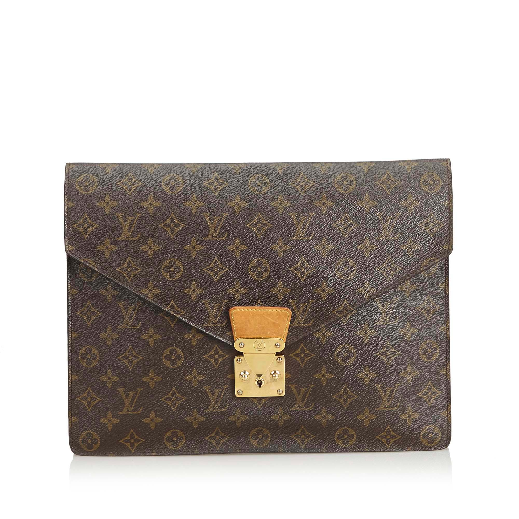 7112a3b5 Louis Vuitton Brown Monogram Porte Documents Senateur