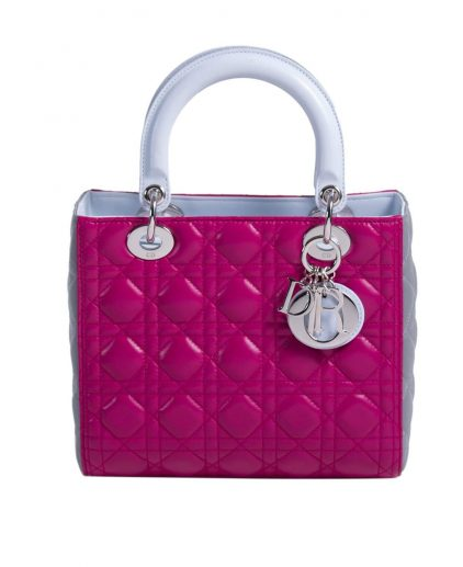 Dior Grey Purple Medium Lady Dior Tote