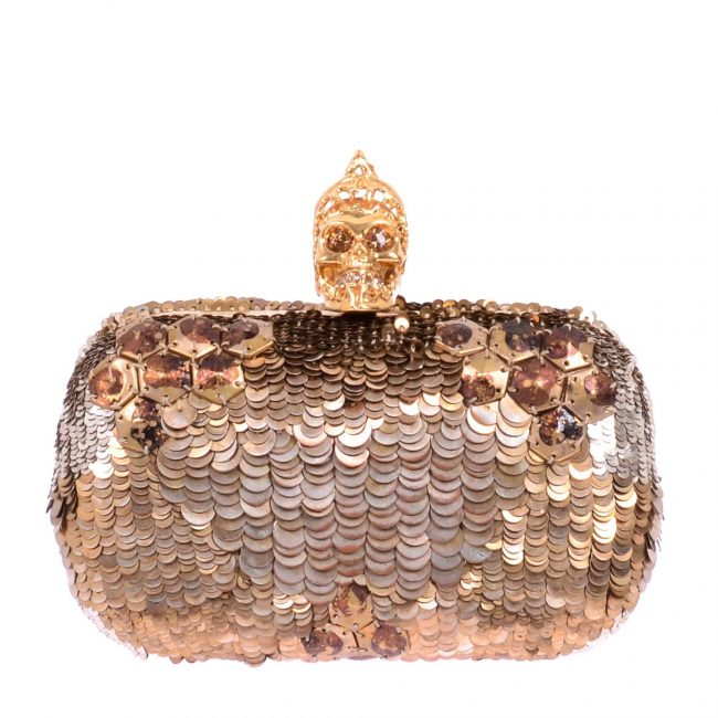 Alexander McQueen Gold Sequined Skull Clutch