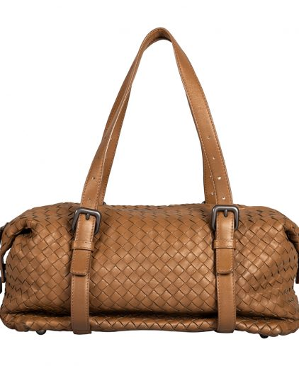 Bottega Veneta Brown Woven Leather Montaigne Satchel Bag