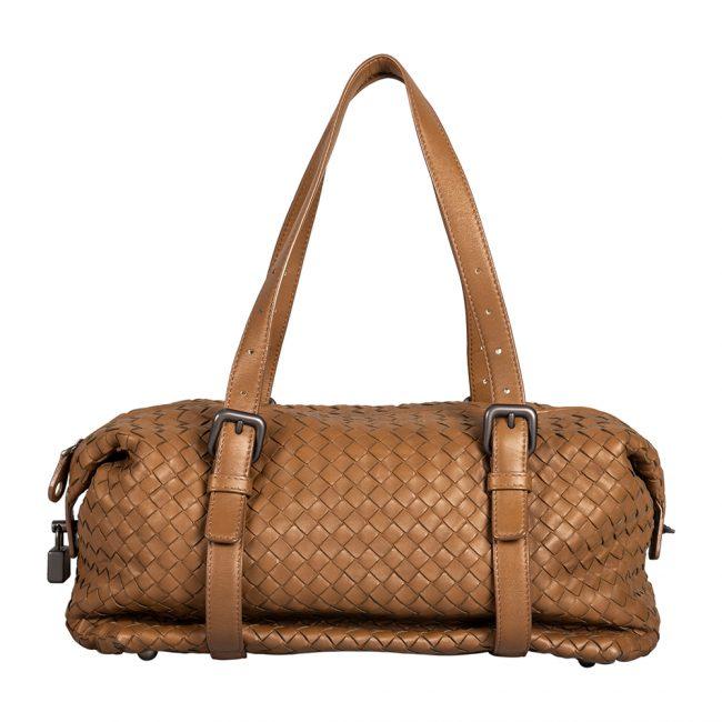 Bottega Veneta Brown Woven Leather Montaigne Satchel Bag
