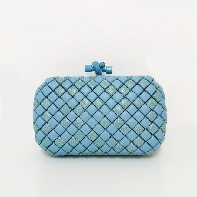 Bottega Veneta Light Blue Watersnake Leather Knot Clutch