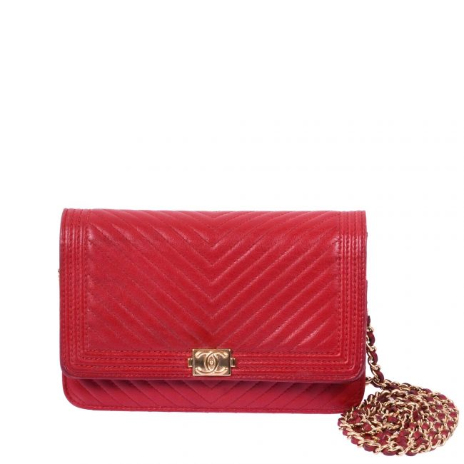 Chanel Red Chevron Leather Wallet On Chain