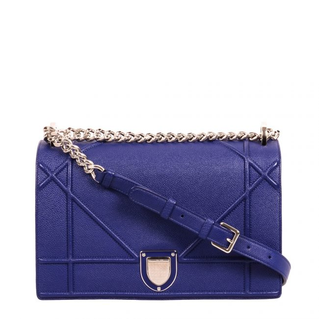 Dior Blue Grained Calfskin Leather Large Diorama Handbag