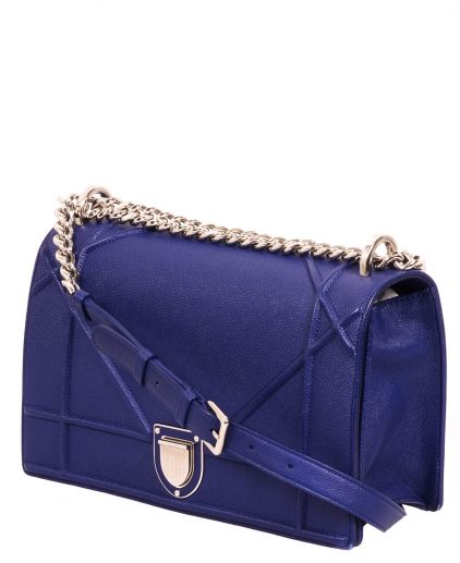 Dior Blue Grained Calfskin Leather Large Diorama Handbag