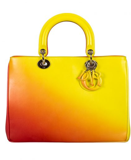 Dior Yellow Orange Ombre Leather Medium Diorissimo Tote