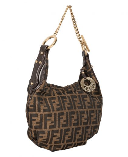 Fendi Tobacco Zucca Canvas Chef Chain Hobo