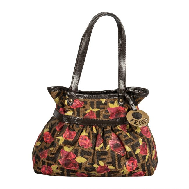 Fendi Tobacco Zucca Canvas Rose Print Mini Chef Hobo